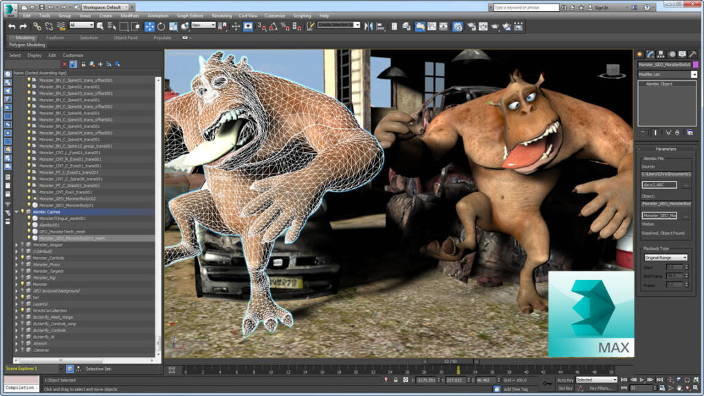 3D Max-da kompüter animasiyası